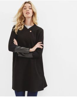 Wool Leather Cuff Cardigan