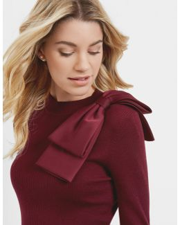 Bow Detail Ribbed Sweater