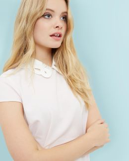 Embroidered Collared Top
