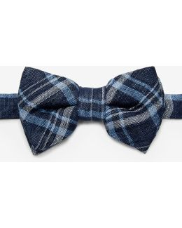 Linen Checked Bow Tie