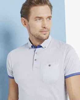 Callie Geo Print Cotton Polo Shirt