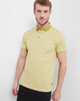 Rectangle Geo Print Cotton Polo Shirt