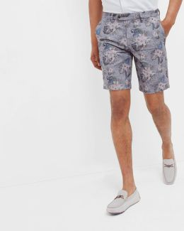 Parrot Floral Print Oxford Shorts