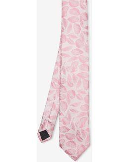 Leaf Print Silk Tie