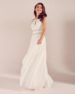 Embellished Trim Pleated Wedding Dress