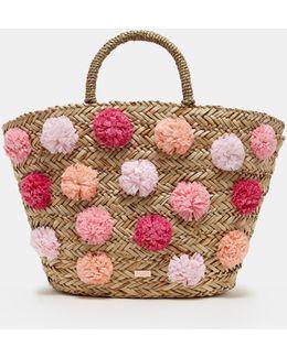 Pom Pom Detail Woven Bag