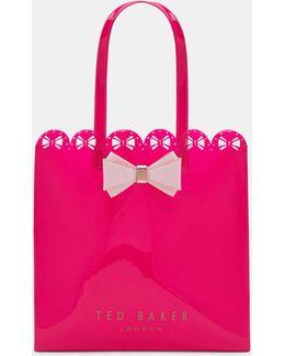 Scallop Edge Large Bow Shopper Bag
