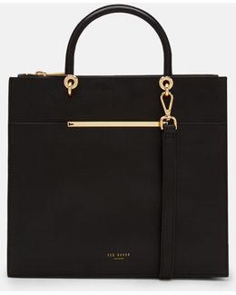Metallic Bar Detail Leather Tote Bag