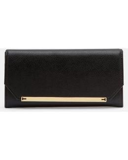 Metallic Detail Leather Matinee Wallet