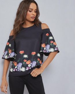 Kensington Floral Cut-out Shoulder Top