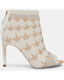 Laser Cut Leather Heeled Ankle Boots