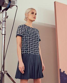Pencil Print Pleated Drop Waist Dress