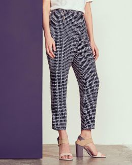 Pencil Print Crossover Trousers