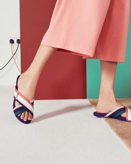 Cross Strap Striped Sandals