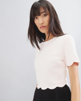 Scallop Trim Cropped Top
