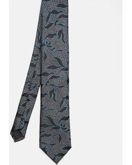 Leaf Pattern Silk Tie