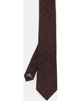 Flecked Checked Silk Tie
