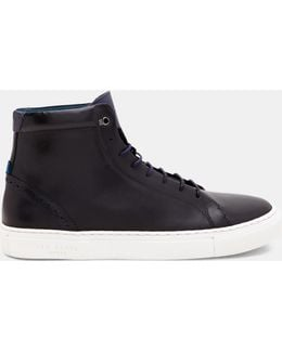 Brogue Detail Leather High Top Sneakers