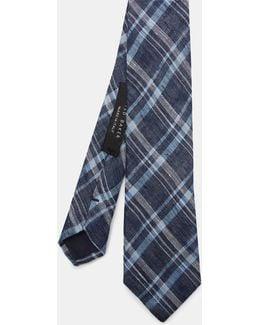 Checked Linen And Silk-blend Tie
