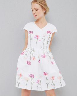 Sketchbook Floral Pleated Dress