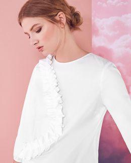 Frill Detail Cotton-blend Blouse