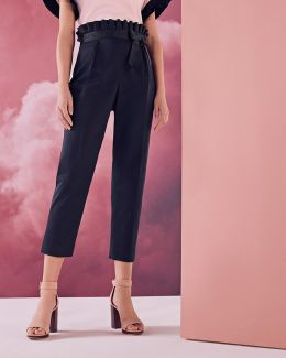 Ruffle Waistline Cotton-blend Pants