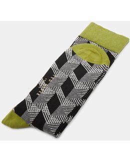Geo Pattern Organic Cotton-blend Socks