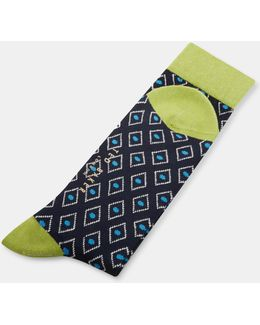 Diamond Print Organic Cotton-blend Socks