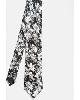 Circle Geo Print Silk Tie