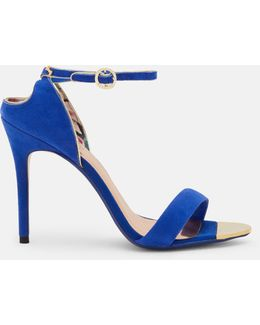 Cut-out Back Suede Heeled Sandals