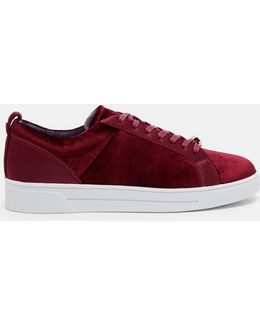 Contrast Trim Leather Sneakers