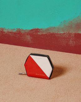 Colour-block Leather Wallet