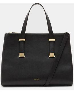 Large Leather Pebble Grain Tote Bag