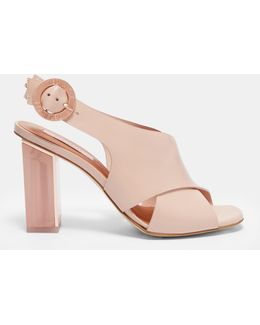 Cross Front Leather Sandals