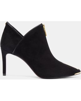 Zip Up Suede Ankle Boots