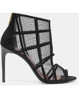 Metallic Mesh Peep-toe Boots
