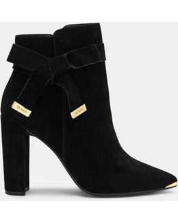 Bow Detail Suede Ankle Boots