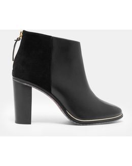 Zip Detail Leather Ankle Boots