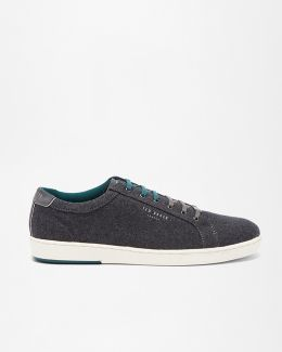 Textured Cotton And Suede Trainers