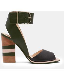 Colour Block Detail Heeled Sandals
