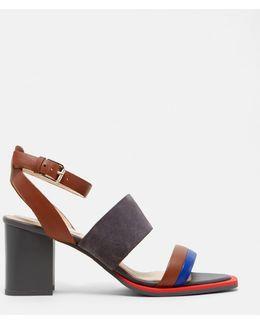 Colour-block Suede Heeled Sandals