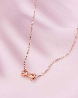 9ct Rose Gold, Morganite And Diamond Bow Necklace