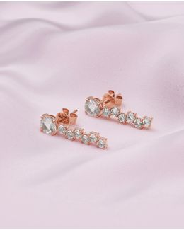 9ct Rose Gold And Morganite Drop Shuffle Earrings