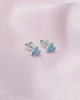 9ct White Gold, Blue Topaz And Diamond Shuffle Earrings