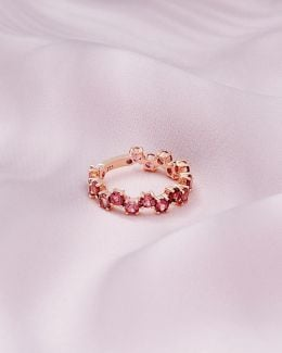 9ct Rose Gold And Pink Tourmaline Shuffle Ring