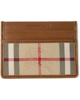Horseferry Check Leather Credit Card Holder