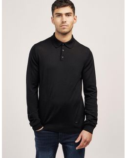 Wool Long Sleeve Polo Shirt