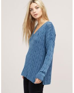 Side Slit Cable Knit