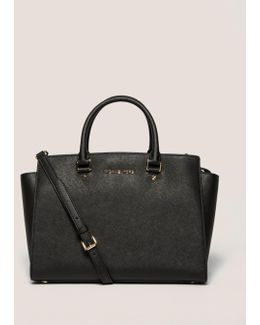 Selma Medium Textured Leather Satchel