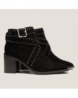 Haig Ii Black Suede Studded Ankle Boots